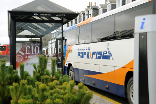 Park & Ride Bus at bus stop